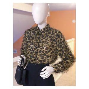 Leopard Print Long Hair EyeLash Shirt